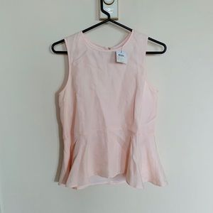 Club Monaco Pale Pink Peplum Top NWT XS